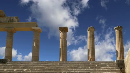 древний : Lindos Acropolis on Rhodos Ancient Archeological site, Greece Стоковые видеозаписи