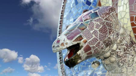 polychrome : Gaudis Parc Guell in Barcelona, Spain Stock Footage
