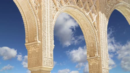 saray : Arches in Islamic Moorish style in Alhambra, Granada, Spain