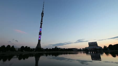 башни : Television (Ostankino) tower at Night, Moscow, Russia