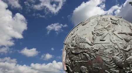 conquerors : Celestial globes-- near Monument of Sovjet space flight, Moscow, Russia