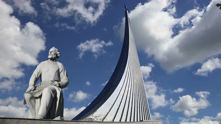 conquerors : Conquerors of Space Monument in the park outdoors of Cosmonautics museum, near VDNK exhibition center, Moscow, Russia
