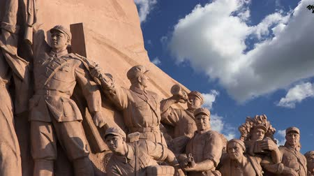 heroes square : Revolutionary statues at Tiananmen Square in Beijing, China