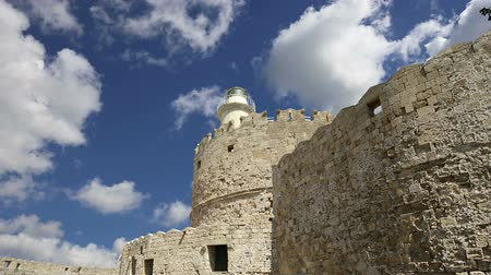 rhodes : Rhodes Tower of St. Nicholas, Greece (time lapse) Stock Footage