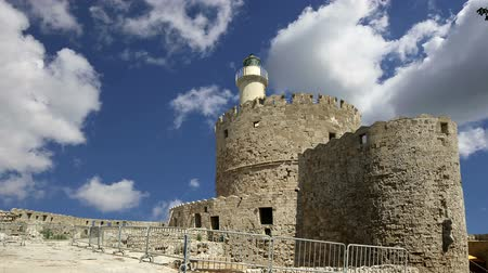 световой люк : Rhodes Tower of St. Nicholas, Greece (time lapse) Стоковые видеозаписи