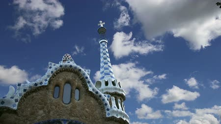 polychrome : Gaudis Parc Guell in Barcelona, ??Spain Stock Footage