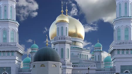 минарет : Moscow Cathedral Mosque, Russia - the main mosque in Moscow, new landmark Стоковые видеозаписи