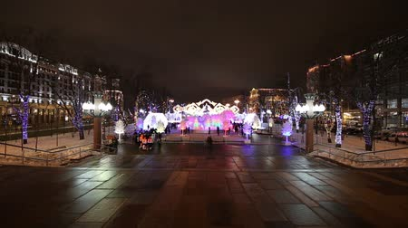 installation lectrique : Christmas night Moscow --- Music Forest on Pushkin Square (Festival Journey to Christmas), Russia