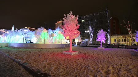 podsvícení : Christmas night Moscow --- Music Forest on Pushkin Square (Festival Journey to Christmas), Russia