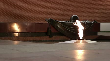heroes square : Unknown Warrior memorial in Moscow (night), Russia ------- Eternal flame at the Tomb of the Unknown Soldier in the Alexander Garden to honor the dead of the Great Patriotic War, Kremlin wall. Moscow, Russia