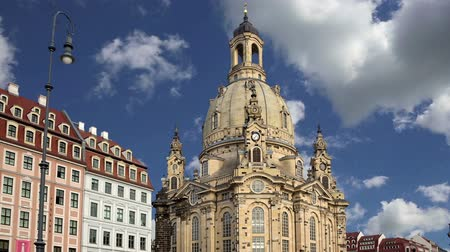 evangelical : Dresden Frauenkirche (literally Church of Our Lady) is a Lutheran church in Dresden, Germany Stock Footage