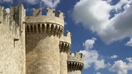 rhodes : Rhodes Island, Greece, a symbol of Rhodes, of the famous Knights Grand Master Palace (also known as Castello) in the Medieval town of rhodes, a must-visit museum of Rhodes Stock Footage