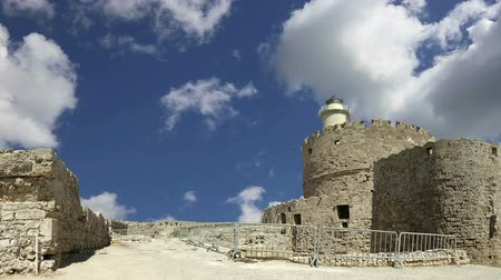 travell : Rhodes Tower of St. Nicholas, Greece (time lapse) Stock Footage
