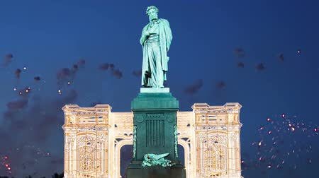 victory day : Fireworks over the Monument to Pushkin, Moscow city center. Russia