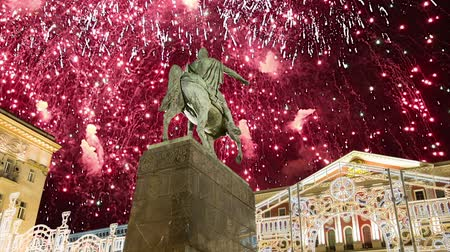 tverskaya : Fireworks over the Moscow city center on Tverskaya square. Yury Dolgoruky Monument, Russia