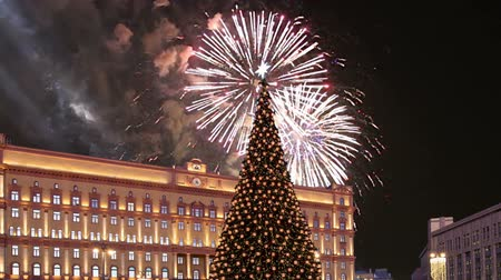 victory day : Fireworks over the Lubyanskaya (Lubyanka) Square in the evening, Moscow, Russia (with zoom) Stock Footage