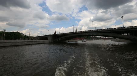 pleasure boats : Moskow (Moskva) River embankment, Russia (day). Shooting from a tourist pleasure boat