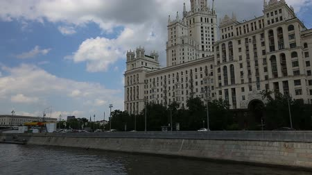 water rail : Kotelnicheskaya Embankment Building, Moscow, Russia - is one of the seven stalinist skyscrapers laid down in September, 1947 and completed in 1952. Shooting from a tourist pleasure boat