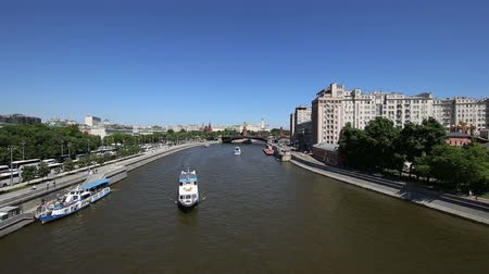 pleasure boats : Moskva River and the Kremlin (day), Moscow, Russia - the most popular view of Moscow Stock Footage