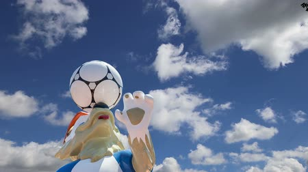 mascot : Official symbols of the 2018 FIFA World Cup in Russia (against the sky with clouds) Stock Footage
