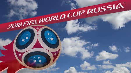 kreml : Official symbols of the 2018 FIFA World Cup in Russia (against the sky with clouds) Stock mozgókép
