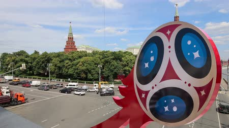 vítejte : Official symbols of the 2018 FIFA World Cup in Russia (against the background of Moscow landmarks) Dostupné videozáznamy