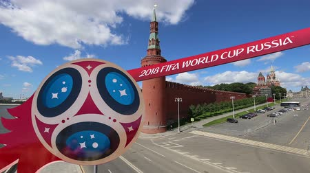 mascot : Official symbols of the 2018 FIFA World Cup in Russia (against the background of Moscow landmarks) Stock Footage