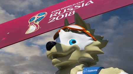 vítejte : Official symbols of the 2018 FIFA World Cup in Russia (against the sky with clouds) Dostupné videozáznamy