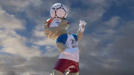 lobo : Official symbols of the 2018 FIFA World Cup in Russia (against the sky with clouds) Stock Footage