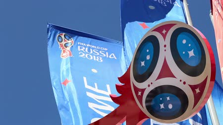 mascot : Official symbols of the 2018 FIFA World Cup in Russia (against the background of Welcome flags)