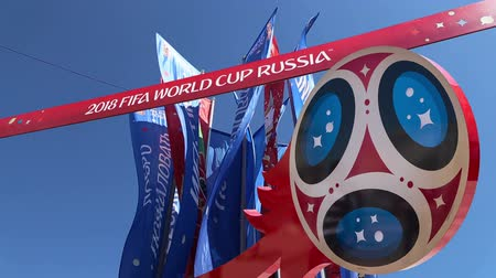 lobo : Official symbols of the 2018 FIFA World Cup in Russia (against the background of Welcome flags)