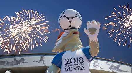 mascot : Fireworks over the Official mascot of the 2018 FIFA World Cup in Russia - wolf Zabivaka and Luzhniki Olympic Complex - Stadium for the 2018 FIFA World Cup. Moscow Stock Footage