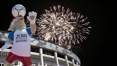 lobo : Fireworks over the Official mascot of the 2018 FIFA World Cup in Russia - wolf Zabivaka and Luzhniki Olympic Complex - Stadium for the 2018 FIFA World Cup. Moscow Stock Footage