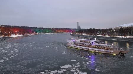 time year : Christmas (New Year holidays) decoration in Moscow, Russia-- Vorobyovskaya Embankment
