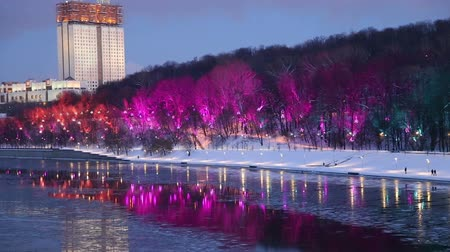 капитал : Christmas (New Year holidays) decoration in Moscow (at night), Russia-- Andreevskaya (Andreevsky) embankment