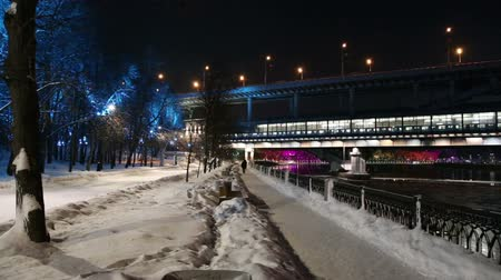 gory : Christmas (New Year holidays) decoration in Moscow (at night), Russia-- Luzhnetskaya Bridge (Metro Bridge)