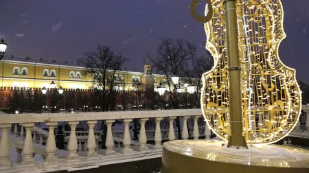 russo : Christmas (New Year holidays) decoration in Moscow (at night), Russia-- Manege Square near the Kremlin