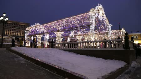 elhelyezkedés : Christmas (New Year holidays) decoration in Moscow (at night), Russia-- Manege Square near the Kremlin
