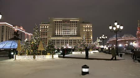 red square : Christmas (New Year holidays) decoration in Moscow (at night), Russia-- Manege Square near the Kremlin