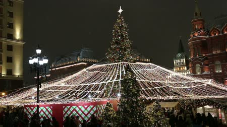 святки : Christmas (New Year holidays) decoration in Moscow (at night), Russia-- Manege Square near the Kremlin