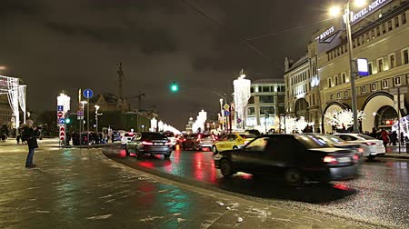 night : Christmas (New Year holidays) decoration in Moscow (at night), Russia. Traffic cars in the center near the Kremlin. Lubyanskaya (Lubyanka) Square Stock Footage