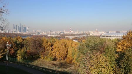 sparrow hills : View of the central Moscow from Sparrow Hills or Vorobyovy Gory observation platform 15 m above the Moskva river, or 200 m above sea level. Moscow, Russia Stock Footage
