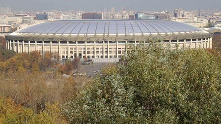sparrow hills : View of the Luzhniki stadium from Sparrow Hills or Vorobyovy Gory observation (platform) 85 m above the Moskva river, or 200 m above sea level. Moscow, Russia Stock Footage