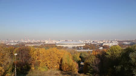 gory : View of the central Moscow from Sparrow Hills or Vorobyovy Gory observation platform 15 m above the Moskva river, or 200 m above sea level. Moscow, Russia Stock Footage