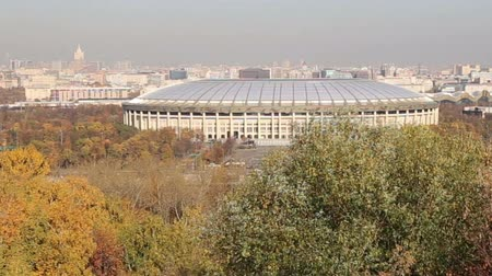 gory : View of the Luzhniki stadium from Sparrow Hills or Vorobyovy Gory observation (platform) 85 m above the Moskva river, or 200 m above sea level. Moscow, Russia Stock Footage