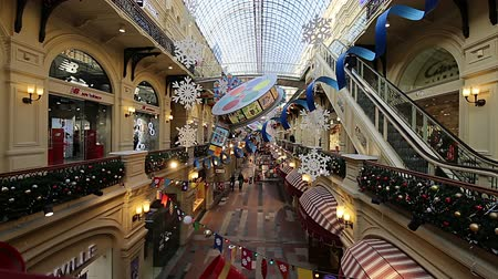 merkez : Interior Main Universal Store (GUM) in Holidays, Red Square, Moscow, Russia.