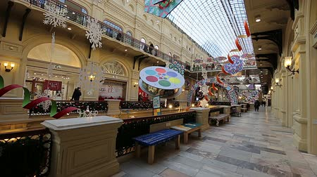 built : Interior Main Universal Store (GUM) in Holidays, Red Square, Moscow, Russia.