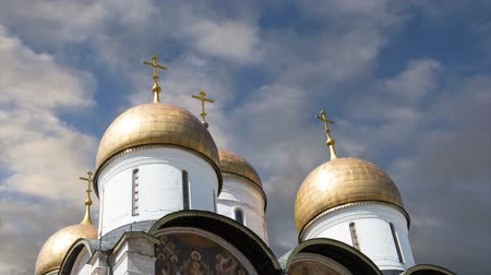 palace complex : Assumption Cathedral (Uspensky Cathedral) against the sky. Inside of Moscow Kremlin, Russia (day)