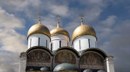 オーソドックス : Assumption Cathedral (Uspensky Cathedral) against the sky. Inside of Moscow Kremlin, Russia (day)