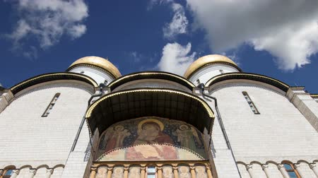 komplexní : Assumption Cathedral (Uspensky Cathedral) against the sky. Inside of Moscow Kremlin, Russia (day)